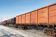 Freight cars at the railway station. Wheels and wheel truck with two axles Stock Images