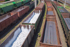 Freight cars with rocks and metal production Royalty Free Stock Photo