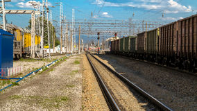Freight cars at the station on a summer day. Freight cars at the station on Royalty Free Stock Photos