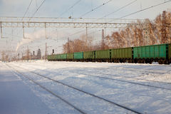 Freight cars at the station. In winter Stock Images