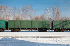 Freight cars at the station. In winter Stock Image