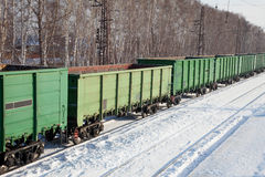 Freight cars at the station. In winter Royalty Free Stock Images