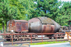 Freight cars, tank cars, torpedo cars,. Landscape Park Duisburg Nord, the former blast furnace in Duisburg Gemany was closed in 1985 Stock Image