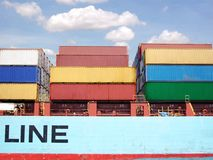 Freight container. Stacks of freight containers at industrial harbor Royalty Free Stock Photos