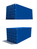 Freight container. Two perspective views of transport container isolated on white Royalty Free Stock Images