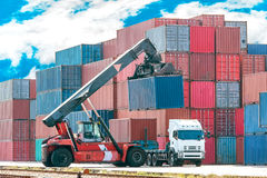 Freight container crane Royalty Free Stock Image