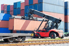 Freight container crane Stock Images