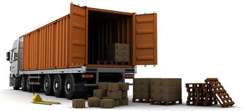 Freight container Delivery Vehicle Stock Photos