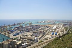 Freight and container harbor Barcelona Stock Image