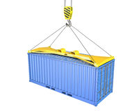Freight container hoisted on container spreader. Isolated on white background Royalty Free Stock Images