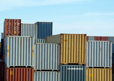 Freight containers on docks Stock Photos