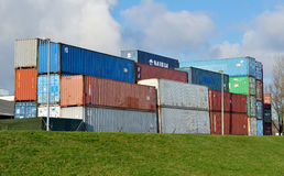 Freight containers in harbor Stock Photo