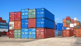 Freight containers in the Le Havre port. Royalty Free Stock Images