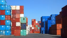 Freight containers in the Le Havre port. Stock Image