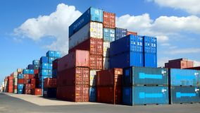 Freight containers in the Le Havre port. Royalty Free Stock Image