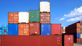 Freight containers in the Le Havre port. Royalty Free Stock Photography