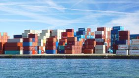 Freight containers in the Le Havre port. Royalty Free Stock Photo