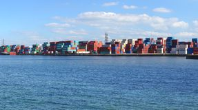 Freight containers in the Le Havre port. Stock Images