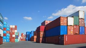Freight containers in the Le Havre port. Stock Photo
