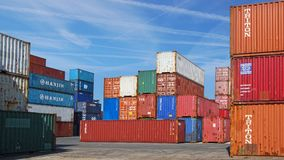 Freight containers in the Le Havre port. Stock Photos