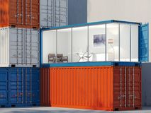 Freight containers. One container is converted into an office. 3d rendering Stock Photo