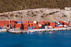 Freight Containers on a Seaside Dock Stock Photography