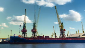 Freight cranes operate at sea vessel unloading in the port. Time lapse stock video footage