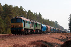 Freight diesel train Royalty Free Stock Photo