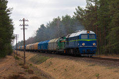 Freight diesel train Stock Photo