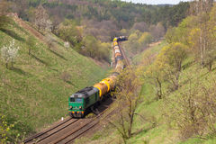 Freight diesel train Stock Images