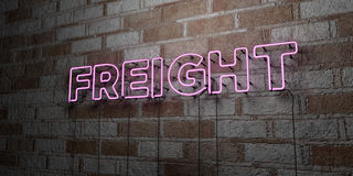FREIGHT - Glowing Neon Sign on stonework wall - 3D rendered royalty free stock illustration Stock Photography