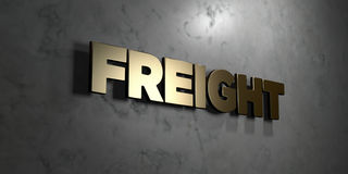 Freight - Gold sign mounted on glossy marble wall  - 3D rendered royalty free stock illustration Royalty Free Stock Image