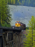 Freight Highup on Trestle. This image of the freight train on the railroad trestle was taken in NW Montana Stock Images