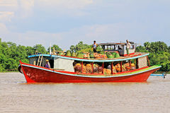 Freight On The Irrawaddy River, Mandalay, Myanmar Royalty Free Stock Photo