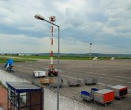 Freight on the landing pad at the Airport, Chisinau, Moldova, May 21, 2014 Stock Photography