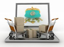 Freight light carts and laptop Royalty Free Stock Image