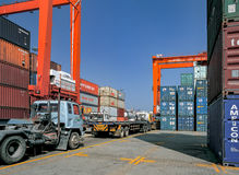Freight & Logistic. Moving containers in the port Royalty Free Stock Image