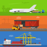 Freight logistics and transportation ways featuring seaway cargo shipping airway freight. Royalty Free Stock Photos