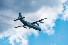 Freight military plane. Freight military plane in the cloudy sky Royalty Free Stock Photos
