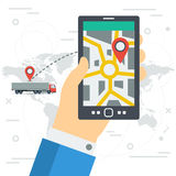Freight monitoring on phone screen Stock Photos