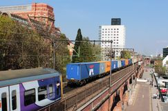 Freight, passenger trains in centre of Manchester Stock Images