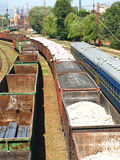 Freight and passenger trains. Royalty Free Stock Photos