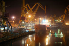 Freight port in night Royalty Free Stock Photos