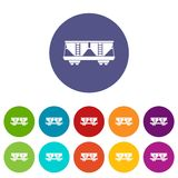 Freight railroad car set icons. In different colors isolated on white background Royalty Free Stock Photo