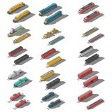 Freight railroad cars and locomotives isometric low poly icon set. Vector graphic illustration stock illustration