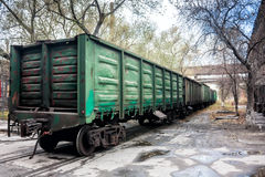 Freight railway carriages. In the industrial area royalty free stock photo