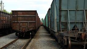 Freight railway cars at the station Bohodukhiv. Ukraine stock photo