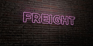 FREIGHT -Realistic Neon Sign on Brick Wall background - 3D rendered royalty free stock image Stock Image