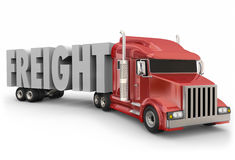 Freight Red Truck Hauling Goods Products Merchandise Delivery. Freight word in 3d letters on a truck trailer to illustrate products, goods or merchandise hauled vector illustration
