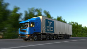 Freight semi truck with China State Construction Engineering Corporation logo driving along forest road, seamless loop Royalty Free Stock Images